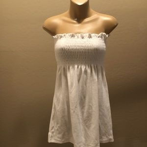 Ruched white terry cloth tube cover up dress S